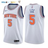 Maillot NBA New York Knicks NO.5 Courtney Lee Blanc Statement 2017-2018 Pas Cher