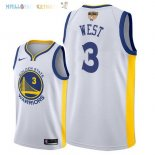 Maillot NBA Golden State Warriors 2018 Finales Champions NO.3 David West Blanc Pas Cher