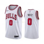 Maillot NBA Chicago Bulls Nike NO.0 Coby White Blanc Association 2019-20 Pas Cher