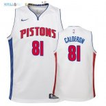 Maillot NBA Enfant Detroit Pistons NO.81 Jose Calderon Blanc Association 2017-2018 Pas Cher