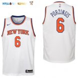 Maillot NBA Enfant New York Knicks NO.6 Kristaps Porzingis Blanc Association Pas Cher