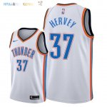 Maillot NBA Oklahoma City Thunder NO.37 Kevin Hervey Blanc Association 2018 Pas Cher