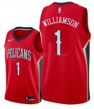 Maillot New Orleans Pelicans Nike NO.1 Zion Williamson Rouge 2019-20 Pas Cher