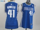 Maillot NBA Femme Dallas Mavericks NO.41 Dirk Nowitzki Bleu Pas Cher