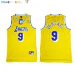 Maillot NBA Los Angeles Lakers NO.9 Nick Van Exel Jaune Pas Cher
