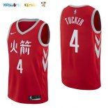 Maillot NBA Houston Rockets NO.4 P.J. Tucker Nike Rouge Ville 2017-2018 Pas Cher