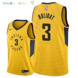 Maillot NBA Indiana Pacers NO.3 Aaron Holiday Jaune Statement 2018 Pas Cher