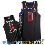Maillot NBA 2015 All Star NO.0 Damian Lillard Noir Pas Cher