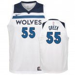 Maillot Enfant Minnesota Timberwolves NO.55 Mitch Creek Blanc Association 2018-19 Pas Cher