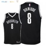 Maillot NBA Enfant Brooklyn Nets NO.8 Spencer Dinwiddie Noir Icon 2018 Pas Cher