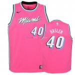 Maillot NBA Enfant Earned Edition Miami Heat NO.40 Udonis Haslem Rose 2018-19 Pas Cher