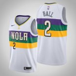 Maillot New Orleans Pelicans Nike NO.2 Lonzo Ball Blanc Ville 2019-20 Pas Cher