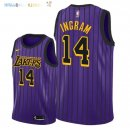 Maillot NBA Los Angeles Lakers NO.14 Brandon Ingram Nike Pourpre Ville 2018-2019 Pas Cher