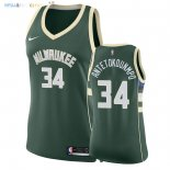 Maillot NBA Femme Milwaukee Bucks NO.34 Giannis Antetokounmpo Vert Icon 2018 Pas Cher
