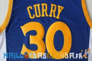 Maillot NBA Golden State Warriors retentisse Fashion NO.30 Curry Bleu Pas Cher