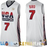 Maillot NBA 1992 USA Bird NO.7 Blanc Pas Cher