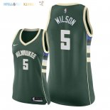 Maillot NBA Femme Milwaukee Bucks NO.5 D.J. Wilson Vert Icon 2018 Pas Cher