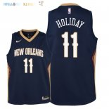 Maillot NBA Enfant New Orleans Pelicans NO.11 Jrue Holiday Marine Icon 2018 Pas Cher