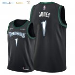 Maillot NBA Minnesota Timberwolves NO.1 Tyus Jones Retro Noir 2018 Pas Cher