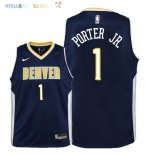 Maillot NBA Enfant Denver Nuggets NO.1 Michael Porter Jr Marine Icon 2018 Pas Cher