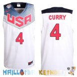 Maillot NBA 2014 USA Curry NO.4 Blanc Pas Cher