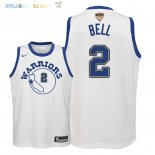 Maillot NBA Enfant Golden State Warriors Finales Champions 2018 NO.2 Jordan Bell Nike Retro Blanc Patch Pas Cher