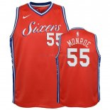 Maillot Enfant Philadelphia Sixers NO.55 Greg Monroe Orange Statement 2018-19 Pas Cher