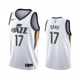 Maillot NBA Utah Jazz Nike NO.17 Ed Davis Blanc Association 2019-20 Pas Cher