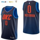 Maillot NBA Enfant Oklahoma City Thunder NO.0 Russell Westbrook Marine Statement Pas Cher