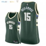 Maillot NBA Femme Milwaukee Bucks NO.15 Shabazz Muhammad Vert Icon 2018 Pas Cher