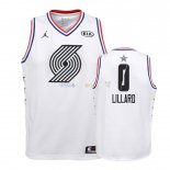 Maillot NBA Enfant 2019 All Star NO.0 Damian Lillard Blanc Pas Cher