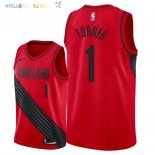 Maillot NBA Portland Trail Blazers NO.1 Evan Turner Rouge Statement 2018 Pas Cher
