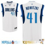 Maillot NBA Dallas Mavericks NO.41 Dirk Nowitzki Blanc Pas Cher