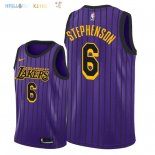 Maillot NBA Los Angeles Lakers NO.6 Lance Stephenson Nike Pourpre Ville 2018-2019 Pas Cher