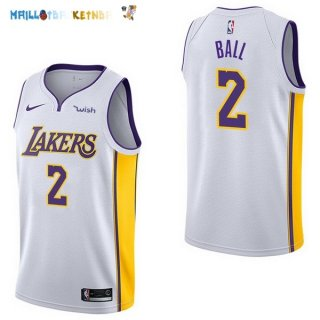 Maillot NBA Enfant Los Angeles Lakers NO.2 Lonzo Ball Blanc Pas Cher