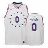 Maillot NBA Enfant Earned Edition Philadelphia Sixers NO.0 Justin Patton Blanc 2018-19Pas Cher