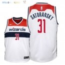Maillot NBA Enfant Washington Wizards NO.31 Tomas Satoransky Blanc Association 2018 Pas Cher