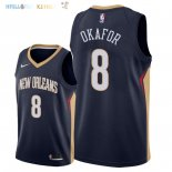 Maillot NBA New Orleans Pelicans NO.8 Jahlil Okafor Marine Icon 2018 Pas Cher