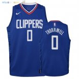 Maillot NBA Enfant Los Angeles Clippers NO.0 Sindarius Thornwell Bleu Icon 2018 Pas Cher