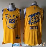 Maillot NBA Golden State Warriors NO.23 Draymond Green Jaune Pas Cher
