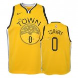 Maillot NBA Enfant Earned Edition Golden State Warriors NO.0 DeMarcus Cousins Jaune 2018-19Pas Cher