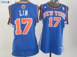 Maillot NBA Femme New York Knicks NO.17 Jeremy Lin Bleu Pas Cher