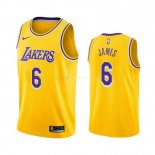 Maillot Los Angeles Lakers Nike NO.6 Lebron James Jaune Icon 2019-20 Pas Cher
