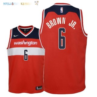 Maillot NBA Enfant Washington Wizards NO.6 Troy Brown Jr Rouge Icon 2018 Pas Cher