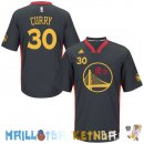 Maillot NBA Golden State Warriors Manche Courte NO.30 Stephen Curry Noir Rouge Pas Cher
