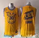 Maillot NBA Golden State Warriors NO.30 Stephen Curry Retro City Jaune Pas Cher