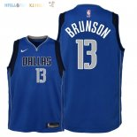 Maillot NBA Enfant Dallas Mavericks NO.13 Jalen Brunson Bleu Icon 2018 Pas Cher