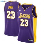 Maillot NBA Enfant Los Angeles Lakers NO.23 Lebron James Pourpre Statement Pas Cher