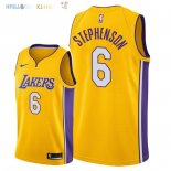 Maillot NBA Los Angeles Lakers NO.6 Lance Stephenson Jaune Icon 2018 Pas Cher