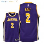 Maillot NBA Enfant Los Angeles Lakers NO.2 Lonzo Ball Pourpre Statement 2018-19 Pas Cher